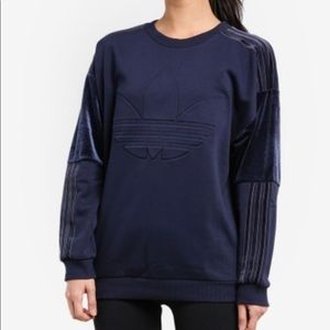 ADIDAS ORIGINALS VELVET TREFOIL SWEATSHIRT SMALL